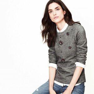 [LOFT] Rhinestone Metal Grey Sweatshirt Sequins